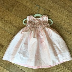 Luli & Me Sz 24 Mo Silk Dress w Pearl Detail GUC